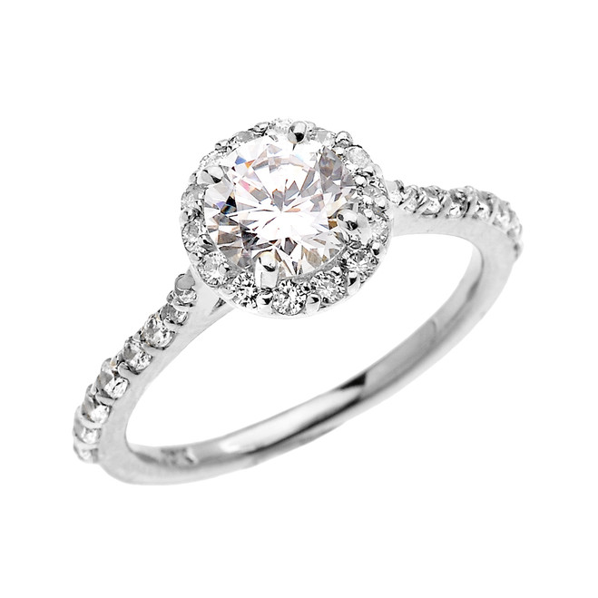 1.5 Carat Round CZ Halo Engagement Ring in White Gold