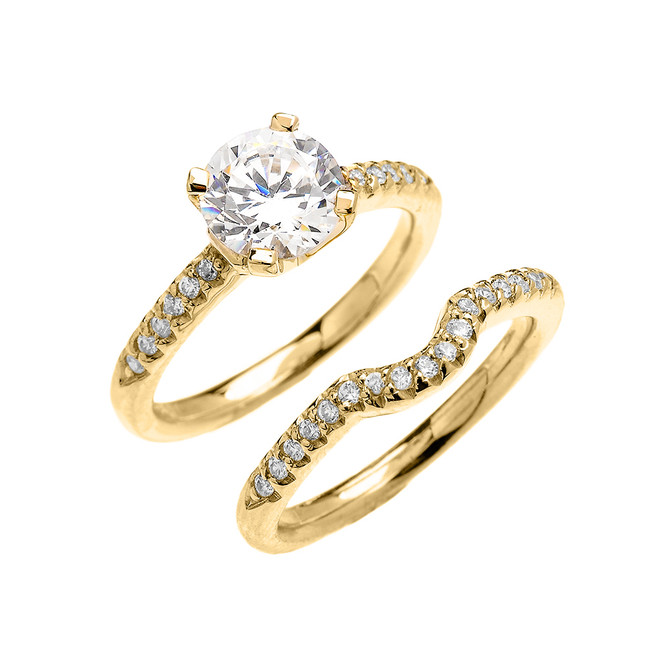 Yellow Gold Dainty Round Cubic Zirconia Solitaire Wedding Ring Set