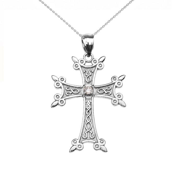 White Gold Elegant Armenian Cross CZ Pendant