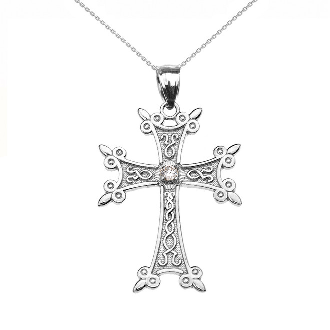 Sterling Silver Elegant Armenian Cross Diamond Pendant