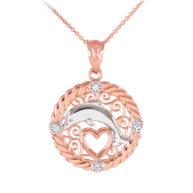 Rose Gold Roped Circle Diamond Jumping Dolphin Heart Filigree Pendant Necklace