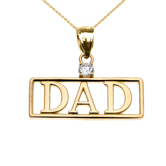 "Yellow Gold ""DAD"" Diamond Pendant Necklace"