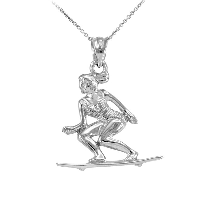 Sterling Silver Female Beach Surfer Sports Pendant Necklace