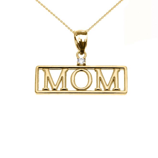 "Yellow Gold ""MOM"" Cubic Zirconia Pendant Necklace"