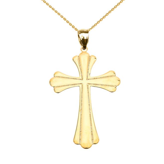 Yellow Gold High Polish Milgrain Cross Pendant Necklace (Medium)