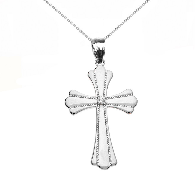 Sterling Silver Solitaire Diamond High Polish Milgrain Cross Pendant Necklace