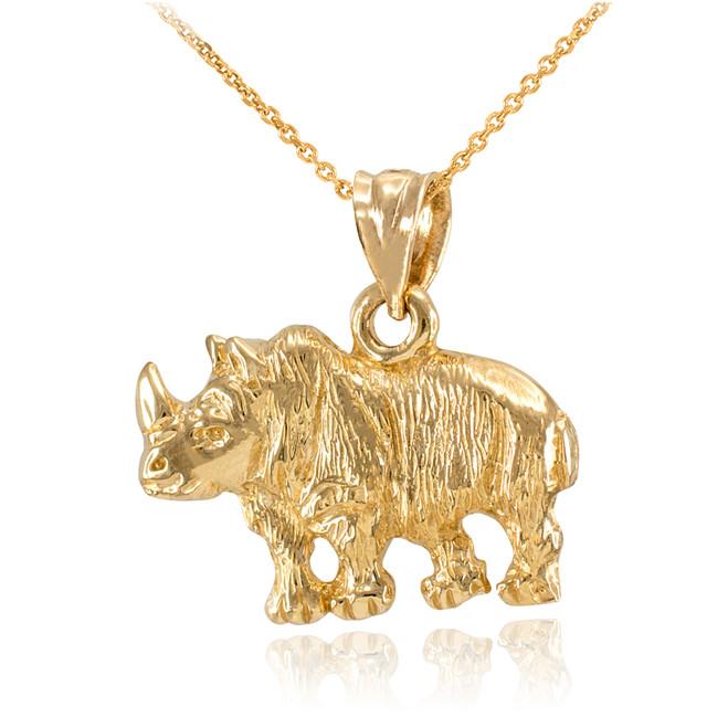 Yellow Gold Diamond Cut African Rhino Pendant Necklace