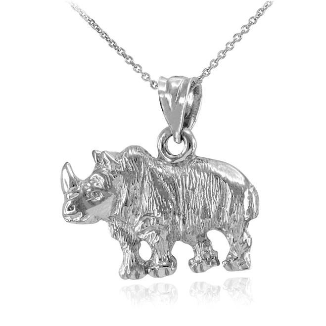 Sterling Silver Diamond Cut African Rhino Pendant Necklace