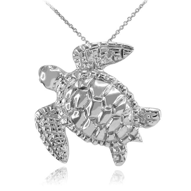 White Gold Turtle Pendant Necklace