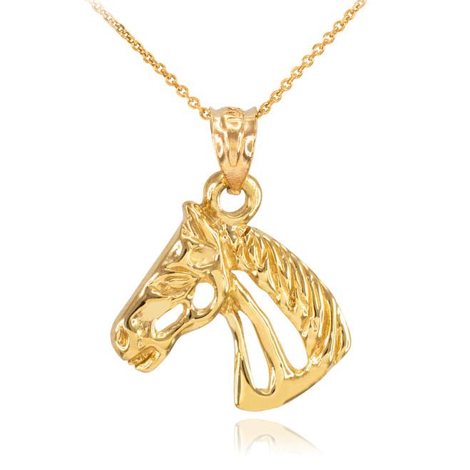 Gold Lucky Horse Head Pendant Necklace
