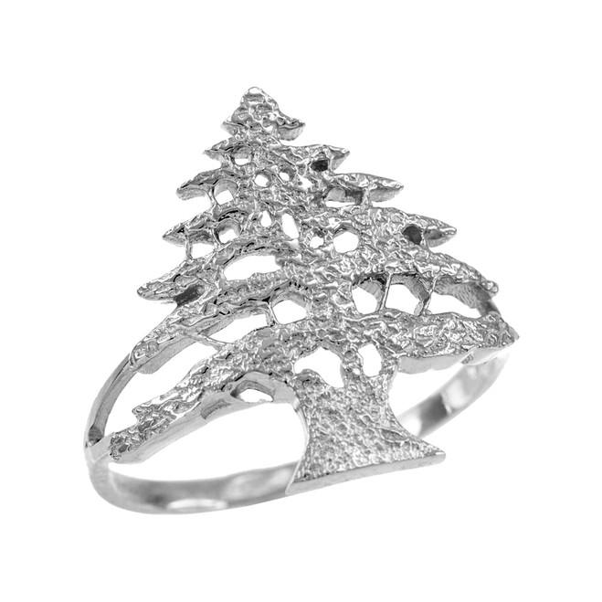 White Gold Textured Band Lebanese Cedar Tree Women's Ring