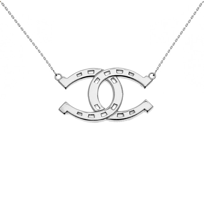 White Gold Criss Cross Horse Shoe Good luck Necklace