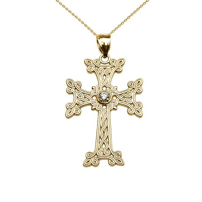 Yellow Gold Armenian Cross Solitaire Cubic Zirconia Pendant Necklace