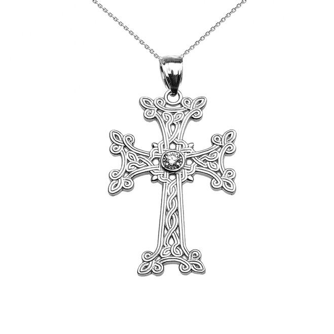 White Gold Armenian Cross Solitaire Cubic Zirconia Pendant Necklace