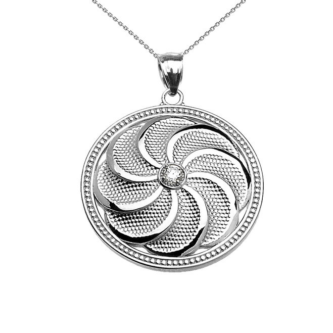 White Gold Shield Armenian Eternity Diamond Pendant Necklace