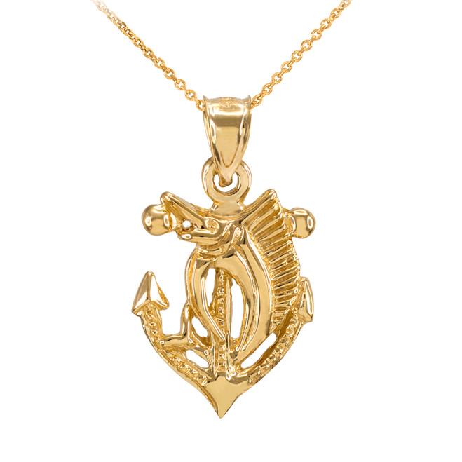 Gold Anchor Marlin Diamond Cut Pendant Necklace