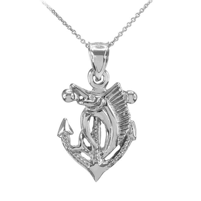 White Gold Anchor Marlin Diamond Cut Pendant Necklace
