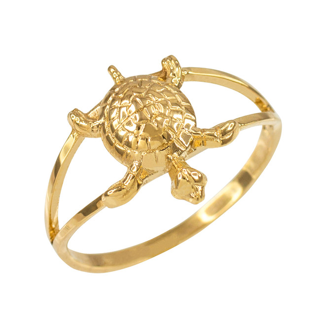 Dainty Yellow Gold Lucky Turtle Charm Ring