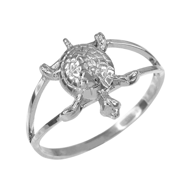 Dainty White Gold Lucky Turtle Charm Ring