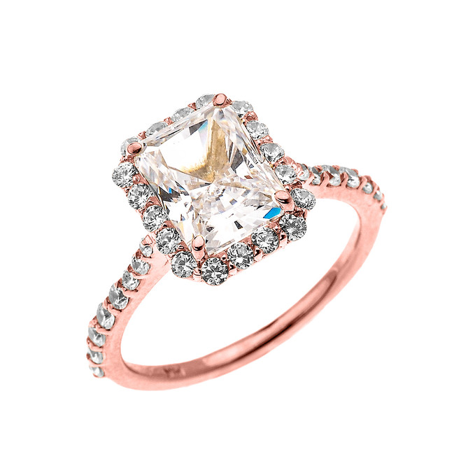 Rose Gold Dainty 2 Carat Emerald Cut CZ Halo Solitaire Ring