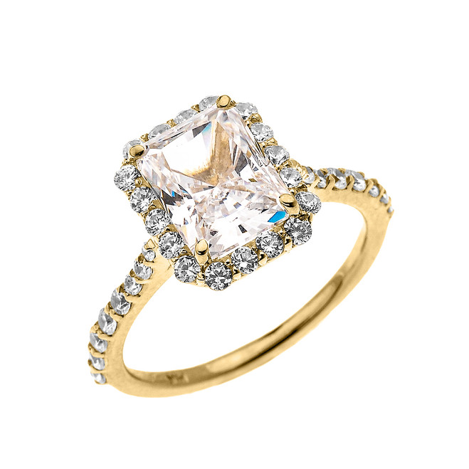 Yellow Gold Dainty 2 Carat Emerald Cut CZ Halo Solitaire Ring