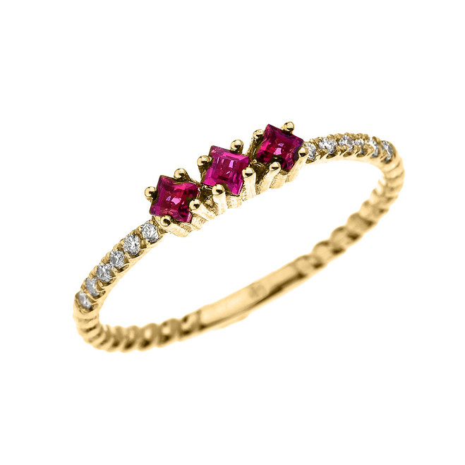 Yellow Gold Dainty Three Stone Ruby and Diamond Rope Design Engagement/Proposal/Stackable Ring