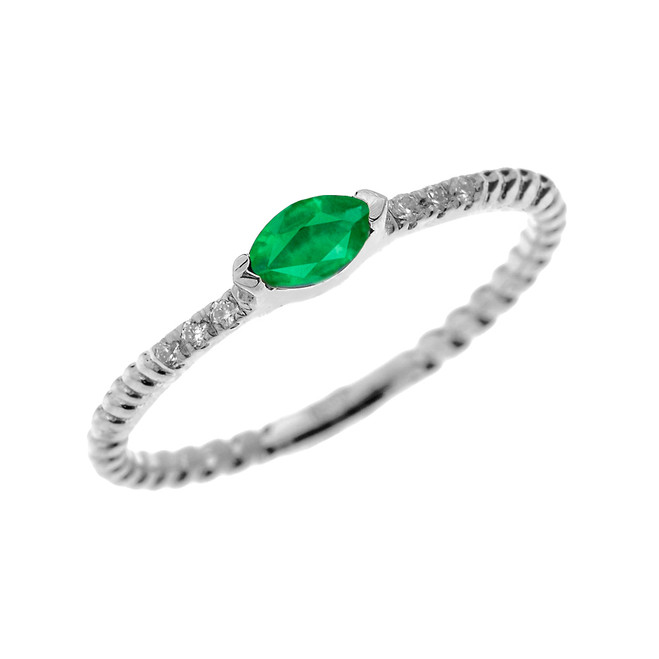 White Gold Dainty Solitaire Marquise Lab Created Emerald and Diamond Rope Design Engagement/Proposal/Stackable Ring
