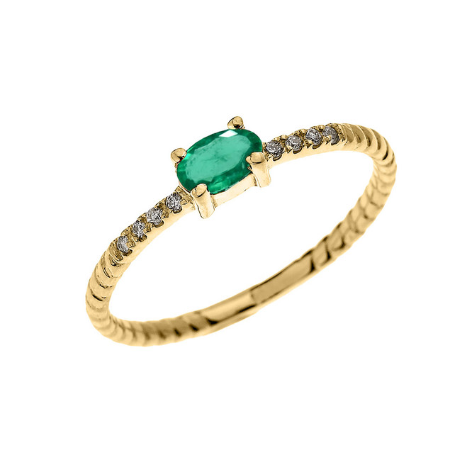 Yellow Gold Dainty Solitaire Oval Emerald and Diamond Rope Design Engagement/Proposal/Stackable Ring