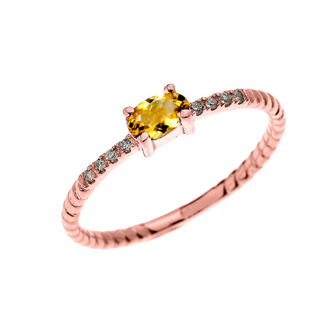 Rose Gold Dainty Solitaire Oval Citrine and Diamond Rope Design Engagement/Proposal/Stackable Ring