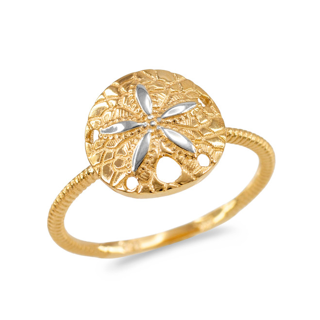 Two-Tone White and Yellow Gold Twisted Rope Band Sand Dollar Ring