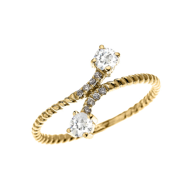 Yellow Gold Dainty Two Stone White Topaz and Diamond Rope Design Promise Ring