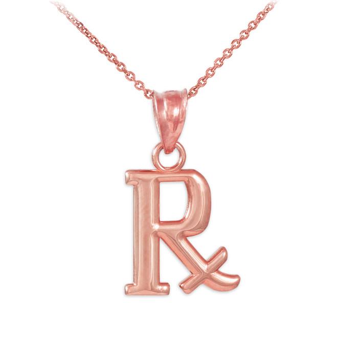 Rose Gold Rx Prescription Symbol Charm Pendant Necklace