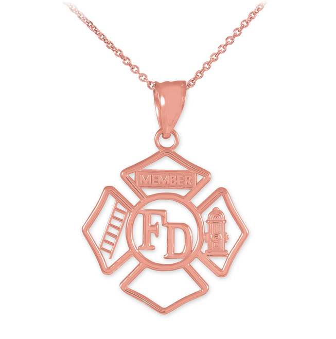 Rose Gold FD Open Badge Firefighter Pendant Necklace
