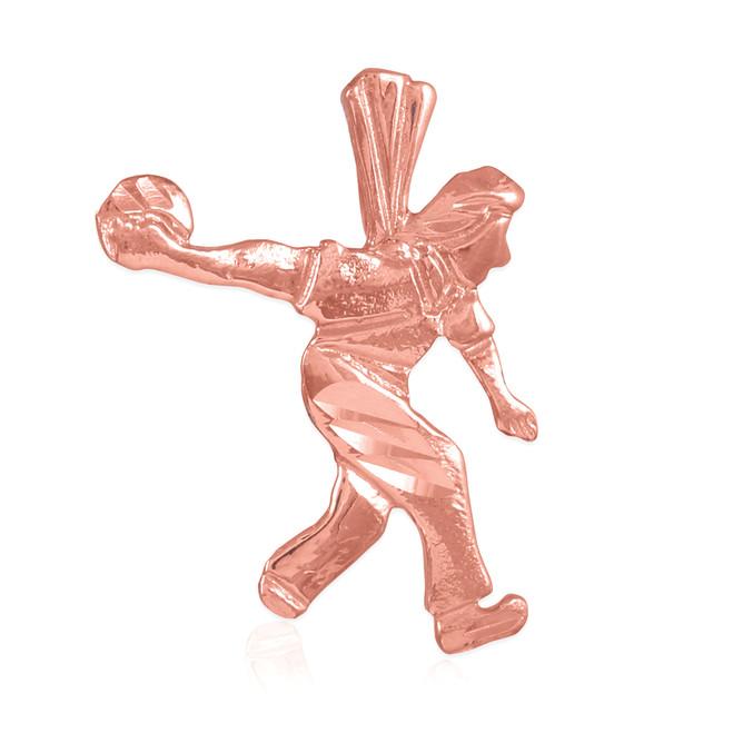 Rose Gold Bowler Charm Sports Pendant