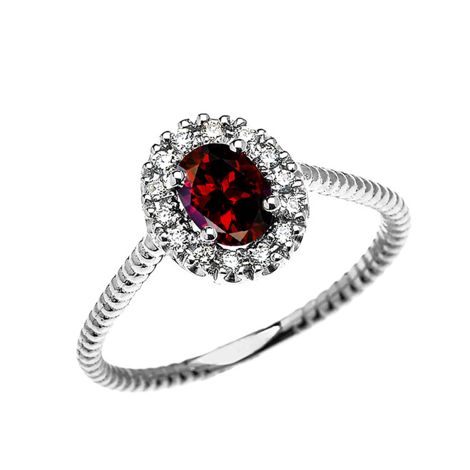White Gold Dainty Halo Diamond and Oval Garnet Solitaire Rope Design Engagement/Promise Ring