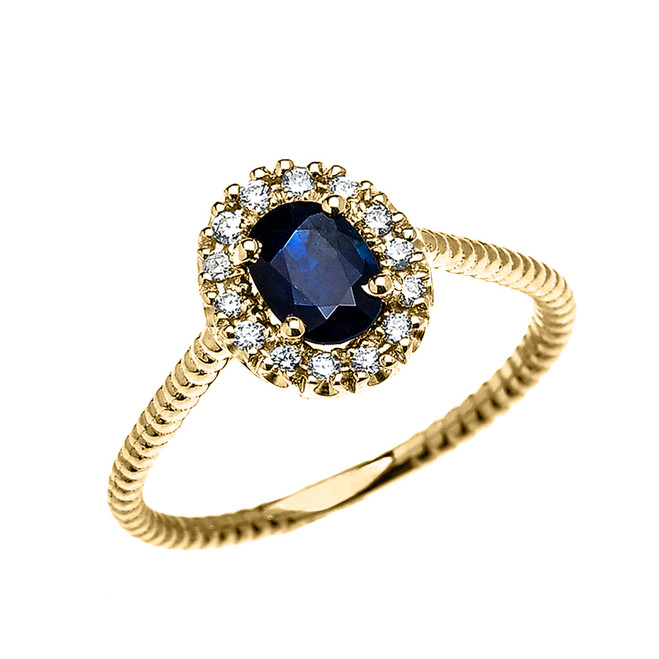 Yellow Gold Dainty Halo Diamond and Oval Sapphire Solitaire Rope Design Engagement/Promise Ring
