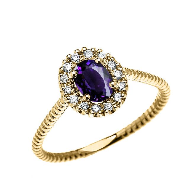 Yellow Gold Dainty Halo Diamond and Oval Amethyst Solitaire Rope Design Engagement/Promise Ring