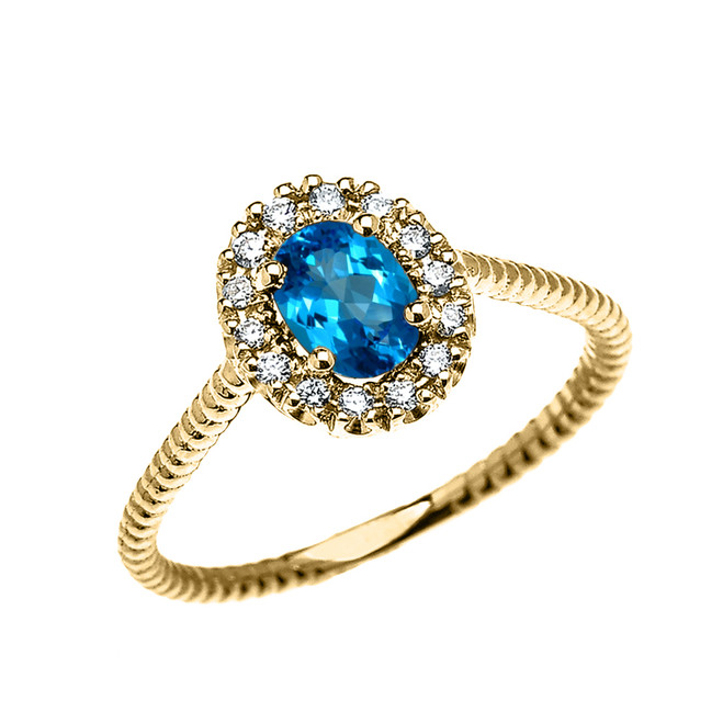 Yellow Gold Dainty Halo Diamond and Oval Blue Topaz Solitaire Rope Design Engagement/Promise Ring