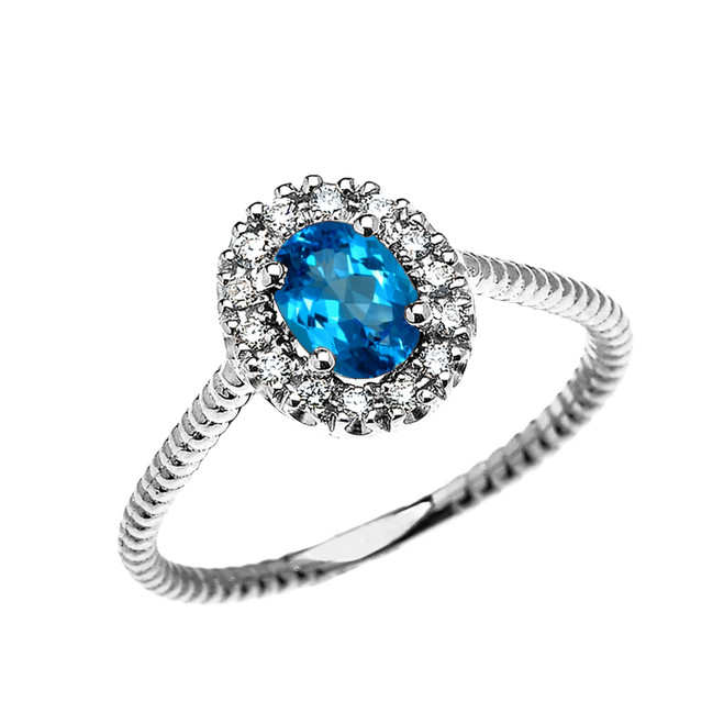 White Gold Dainty Halo Diamond and Oval Blue Topaz Solitaire Rope Design Engagement/Promise Ring