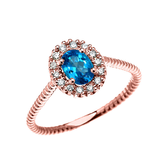 Rose Gold Dainty Halo Diamond and Oval Blue Topaz Solitaire Rope Design Engagement/Promise Ring
