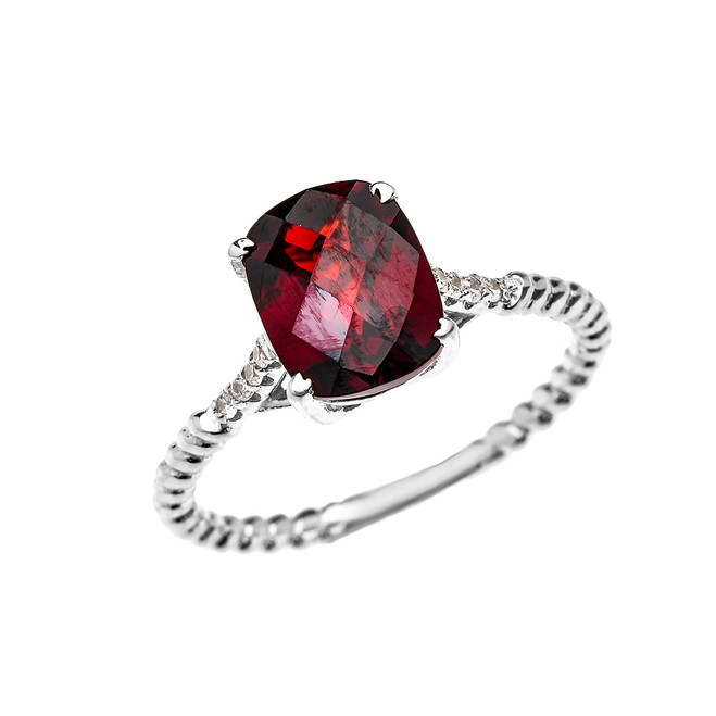 White Gold Dainty 2 Carat Garnet and Diamond Solitaire Rope Design Engagement Ring