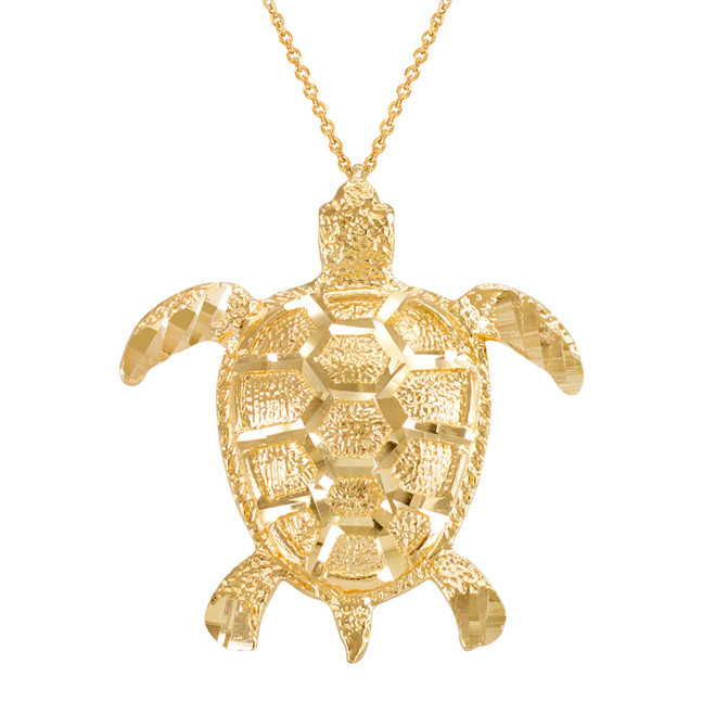 Yellow Gold Textured Style Sea Turtle Pendant Necklace