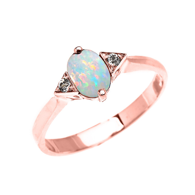 Rose Gold Solitaire Oval Opal and White Topaz Engagement/Promise Ring