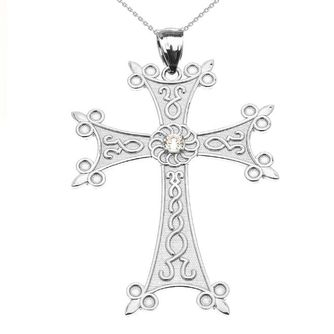 White Gold Elegant Armenian Cross with Eternity Diamond Pendant Necklace (Large)