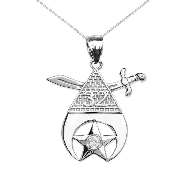 White Gold Shriners Freemason Masonic Diamond Pendant Necklace