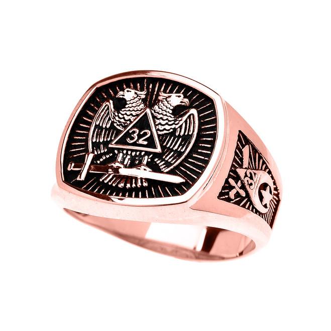 Rose Gold Shriners Freemason Masonic Men's Ring
