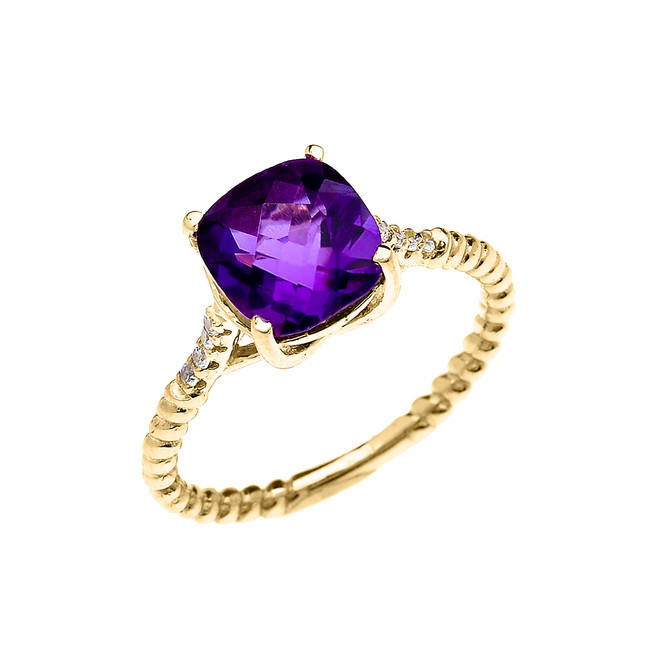Yellow Gold Dainty Solitaire 2 Carat Cushion Checkerboard Amethyst and Diamond Rope Design Engagement/Promise Ring