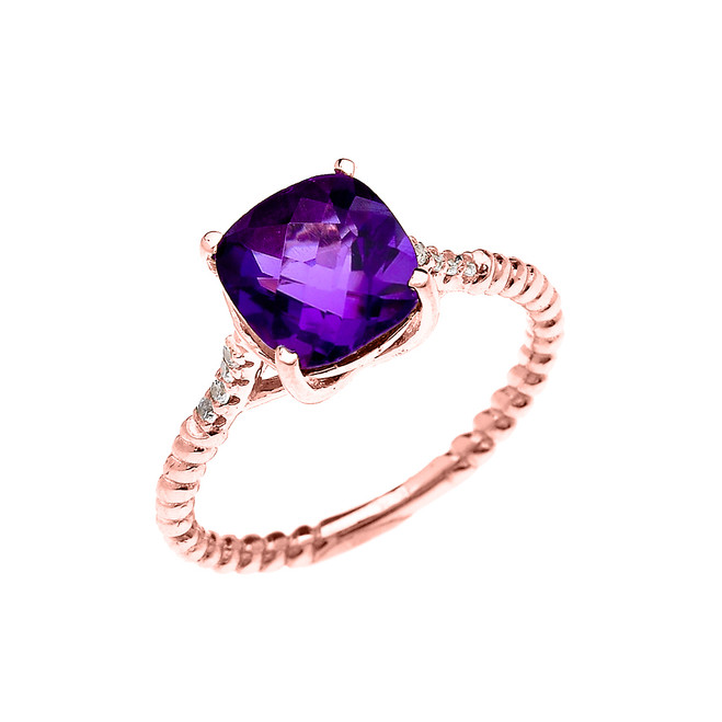 Rose Gold Dainty Solitaire 2 Carat Cushion Checkerboard Amethyst and Diamond Rope Design Engagement/Promise Ring