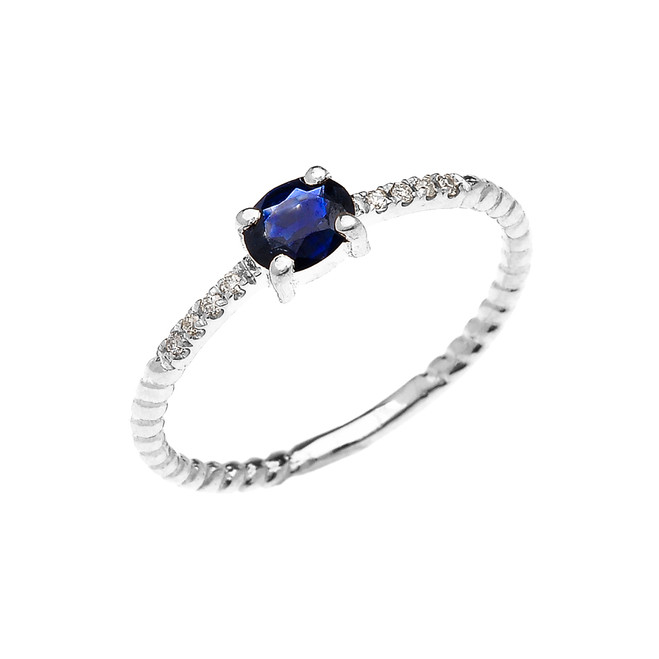 White Gold Dainty Solitaire Oval Sapphire and Diamond Rope Design Engagement/Promise Ring