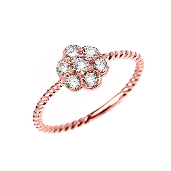 Rose Gold Dainty 7 Stone Cluster Flower Diamond Rope Design Ring